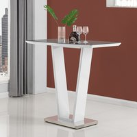 Product photograph showing Iko High Gloss Bar Table In White With Stainless Steel Base