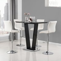 Product photograph showing Iko High Gloss Bar Table In Black With 4 White Ripple Stools