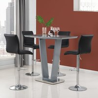 Product photograph showing Iko High Gloss Bar Table In Grey With 4 Black Ripple Stools