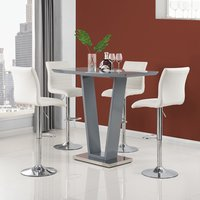 Product photograph showing Iko High Gloss Bar Table In Grey With 4 White Ripple Stools