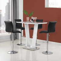 Product photograph showing Iko High Gloss Bar Table In White With 4 Black Ripple Stools