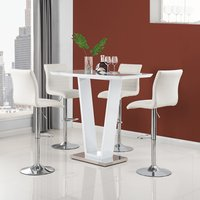 Product photograph showing Iko High Gloss Bar Table In White With 4 White Ripple Stools