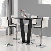 Ilko High Gloss Bar Table In Black With 4 Ritz White Black Stool