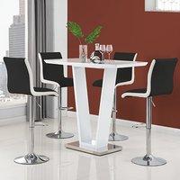 Ilko High Gloss Bar Table In White With 4 Ritz Black White Stool