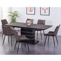 Imperia Extending Tufftop Dark Brown Dining Table With 6 Chairs