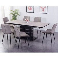 Imperia Extending Tufftop Dining Table In Light Grey With 6 Chairs