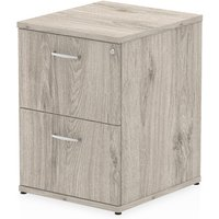 Product photograph showing Impulse Wooden 2 Drawers Filing Cabinet In Grey Oak