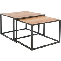 Product photograph showing Indio Wooden Square Nest Of 2 Coffee Tables In Oak