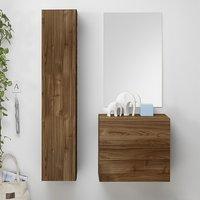 Infra Bathroom Furniture Set In Dark Walnut With Storage Unit
