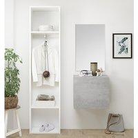Infra Bathroom Furniture Set In Matt White And Cement Effect