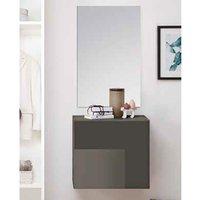 Infra Wooden Bathroom Furniture Set In Grey High Gloss