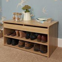Inova Contemporary Wooden Shoe Bench In Oak