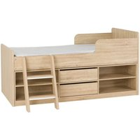 Product photograph showing Intana Wooden Low Sleeper Bunk Bed In Light Sonoma Oak