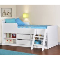 Product photograph showing Intana Wooden Low Sleeper Bunk Bed In White