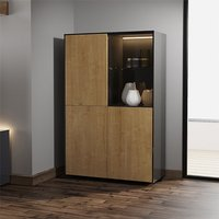 Product photograph showing Intel Led Display Cabinet In Black Gloss And Oak