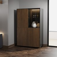 Product photograph showing Intel Led Display Cabinet In Black Gloss And Walnut