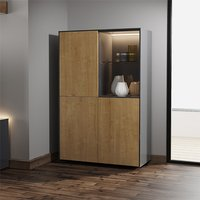 Product photograph showing Intel Led Display Cabinet In Grey Gloss And Oak