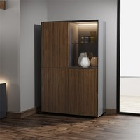 Product photograph showing Intel Led Display Cabinet In Grey Gloss And Walnut