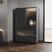 Product photograph showing Intel Led Display Cabinet In Grey Gloss With Wireless Charging