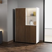 Product photograph showing Intel Led Display Cabinet In White Gloss And Walnut