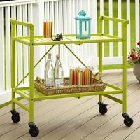 Product photograph showing Intellifit Folding Drinks Trolley In Apple Green With 2 Shelves