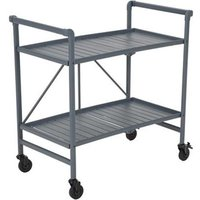 Product photograph showing Intellifit Folding Drinks Trolley In Grey With 2 Shelves