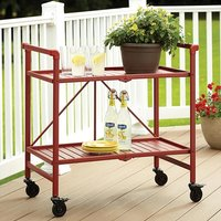 Product photograph showing Intellifit Folding Drinks Trolley In Ruby Red With 2 Shelves