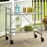 Product photograph showing Intellifit Folding Drinks Trolley In Silver With 2 Shelves