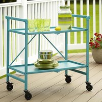 Product photograph showing Intellifit Folding Drinks Trolley In Teal With 2 Shelves