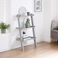 Product photograph showing Irene Ladder Style Three Tier Wall Rack Shelving Unit In Grey