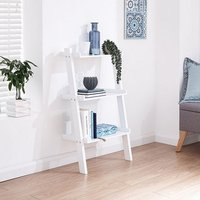 Product photograph showing Irene Ladder Style Three Tier Wall Rack Shelving Unit In White
