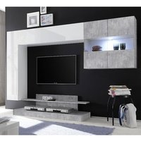 Product photograph showing Iris Wall Entertainment Unit In White Gloss And Cement Effect
