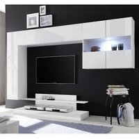 Product photograph showing Iris Wall Entertainment Unit In White High Gloss