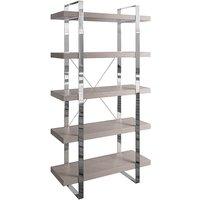Irvane Large Wooden 5 Shelves Bookcase In Grey Oak