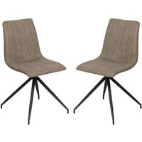 Isaac Taupe Faux Leather Dining Chairs In Pair