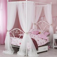 Isabelle Four Poster Metal Single Bed In White Gloss
