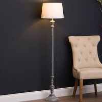 Product photograph showing Ithacans Wooden Floor Lamp In Grey With Beige Linen Shade