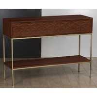 Product photograph showing Ivy Console Table In Rich Walnut With 2 Drawers And 1 Shelf