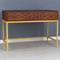Product photograph showing Ivy Console Table In Rich Walnut With 2 Drawers