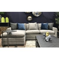 Product photograph showing Ivy Corner Left Handed Fabric Sofa Bed In Grey