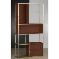 Product photograph showing Ivy Wooden Bookcase In Rich Walnut