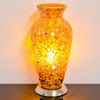 Product photograph showing Izar Bronze Flower Design Mosaic Glass Vase Table Lamp
