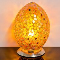 Product photograph showing Izar Medium Bronze Flower Egg Design Mosaic Glass Table Lamp