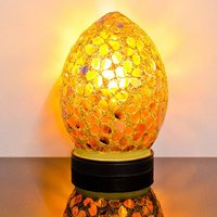 Product photograph showing Izar Small Bronze Flower Egg Design Mosaic Glass Table Lamp