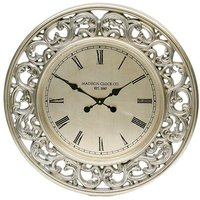 image-Jason Wall Clock Round In Antique Silver Leaf