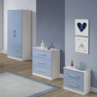 Jasper 3Pc Bedroom Furniture Set In White And Blue High Gloss