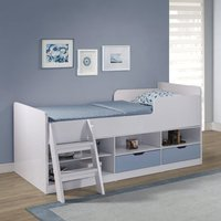 Product photograph showing Jasper Low Sleeper Children Bed In White And Blue High Gloss