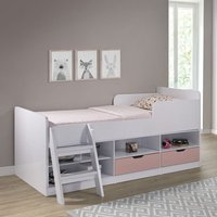 Product photograph showing Jasper Low Sleeper Children Bed In White And Pink High Gloss