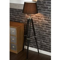 Jaspro Black Fabric Shade Floor Lamp With Tripod Base