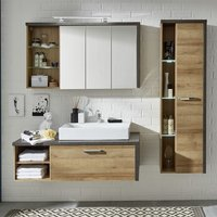 Product photograph showing Java Wall Mount Bathroom Set In Oak Dark Cement Grey Led